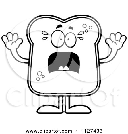 Cartoon Of An Outlined Scared Bread Character - Royalty Free Vector Clipart by Cory Thoman