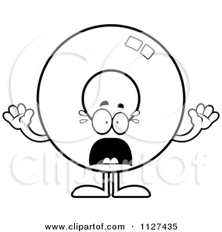 Cartoon Of An Outlined Scared Donut Mascot - Royalty Free Vector Clipart by Cory Thoman