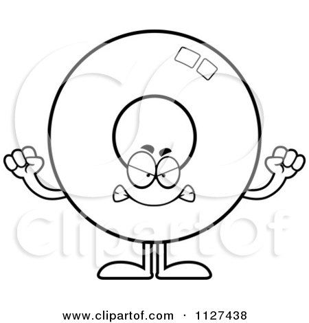 Cartoon Of An Outlined Angry Donut Mascot - Royalty Free Vector Clipart by Cory Thoman