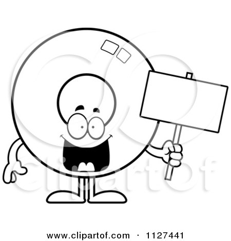 Cartoon Of An Outlined Donut Mascot Holding A Sign - Royalty Free Vector Clipart by Cory Thoman