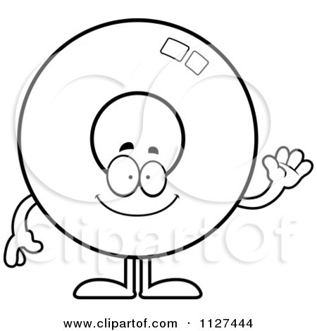 Cartoon Of An Outlined Waving Donut Mascot - Royalty Free Vector Clipart by Cory Thoman