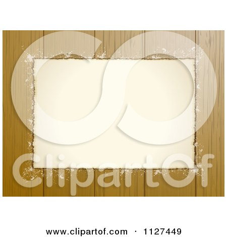 Clipart Of A Grungy Paper Frame And Copyspace Over Wood Panels - Royalty Free Vector Illustration by elaineitalia