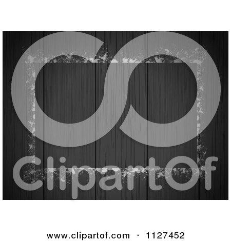 Clipart Of A Grungy Frame Over Dark Wood Panels - Royalty Free Vector Illustration by elaineitalia