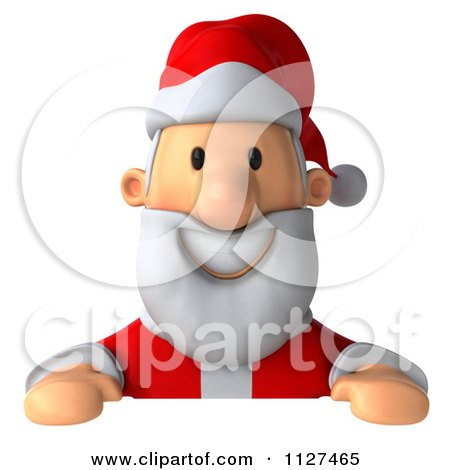 Clipart Of A 3d Santa Holding A Sign 2 - Royalty Free CGI Illustration by Julos