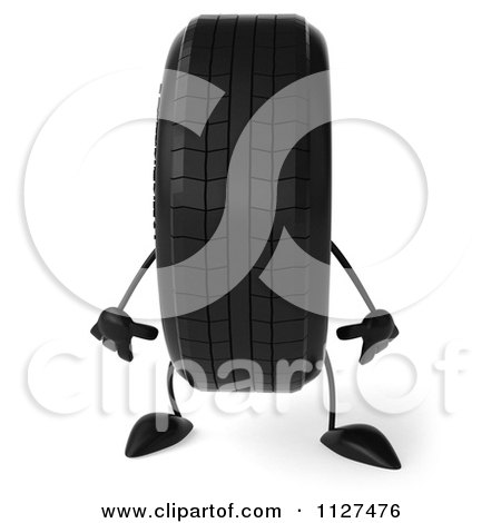 Clipart Of A 3d Wheel Mascot Standing - Royalty Free CGI Illustration by Julos