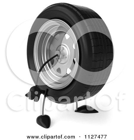 Clipart Of A 3d Wheel Mascot Facing Right - Royalty Free CGI Illustration by Julos