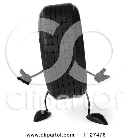 Clipart Of A 3d Wheel Mascot Shrugging - Royalty Free CGI Illustration by Julos