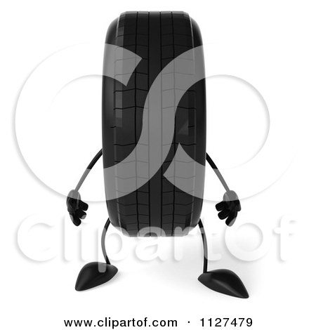Clipart Of A 3d Wheel Mascot - Royalty Free CGI Illustration by Julos