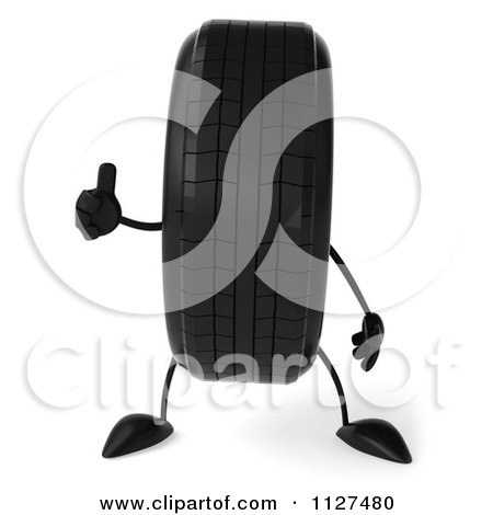 Clipart Of A 3d Wheel Mascot Holding A Thumb Up - Royalty Free CGI Illustration by Julos