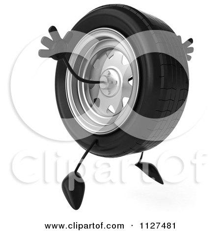 Clipart Of A 3d Wheel Mascot Jumping - Royalty Free CGI Illustration by Julos