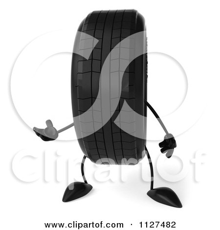 Clipart Of A 3d Wheel Mascot Presenting - Royalty Free CGI Illustration by Julos