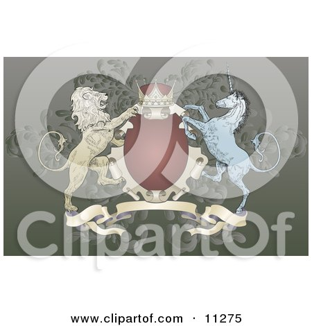 Crown, Lion, and Blue Unicorn on a Coat of Arms Clipart Illustration by AtStockIllustration