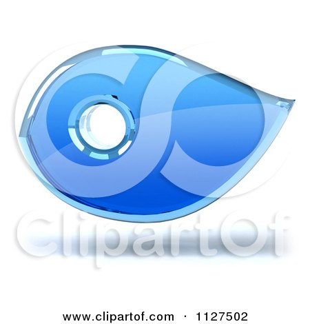 Clipart Of A 3d Blue Glass Bird - Royalty Free CGI Illustration by Julos