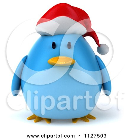 Clipart Of A 3d Christmas Bluebird Wearing A Santa Hat - Royalty Free CGI Illustration by Julos