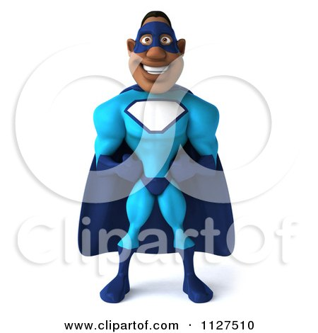 Clipart Of A 3d Black Super Hero Man In A Blue Costume - Royalty Free CGI Illustration by Julos