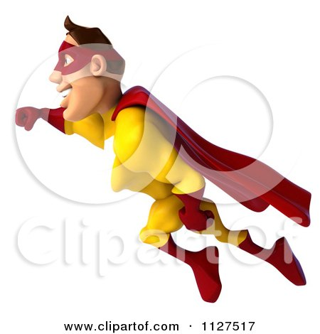 Clipart Of A 3d Flying Super Hero Man In A Red And Yellow Costume 1 - Royalty Free CGI Illustration by Julos