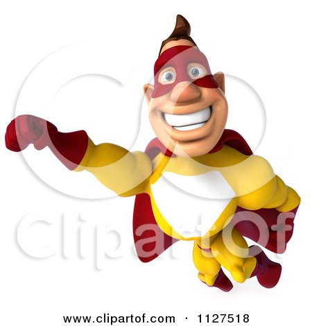 Clipart Of A 3d Flying Super Hero Man In A Red And Yellow Costume 2 - Royalty Free CGI Illustration by Julos