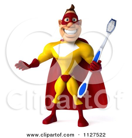 Clipart Of A 3d Dental Super Hero Man In A Red And Yellow Costume - Royalty Free CGI Illustration by Julos