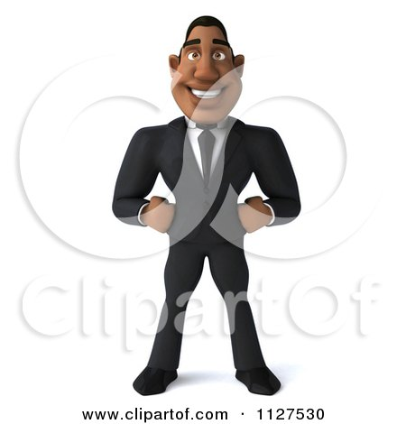 Clipart Of A 3d Handsome Black Businessman - Royalty Free CGI Illustration by Julos