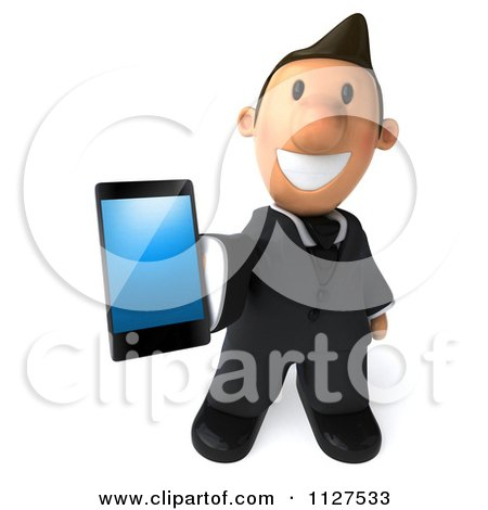 Clipart Of A 3d Business Toon Guy Holding Out A Cell Phone - Royalty Free CGI Illustration by Julos