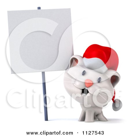 Clipart Of A 3d Christmas Kitten By A Sign - Royalty Free CGI Illustration by Julos