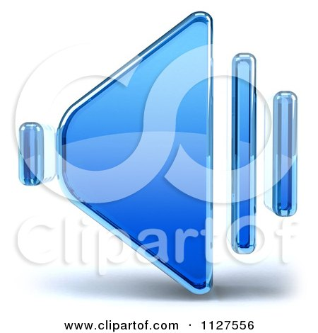 Clipart Of A 3d Glass Speaker Icon - Royalty Free CGI Illustration by Julos