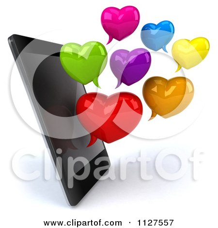 Clipart Of A 3d Smart Phone With Heart Shaped Chat Balloons - Royalty Free CGI Illustration by Julos