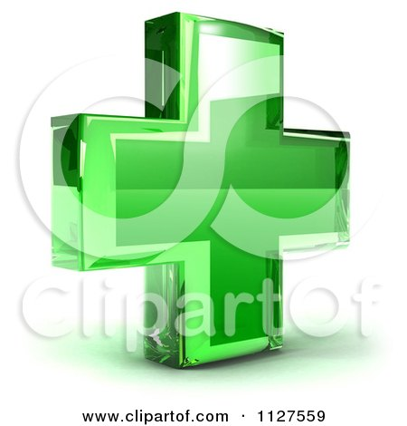 Clipart Of A 3d Green Medical Cross Icon - Royalty Free CGI Illustration by Julos