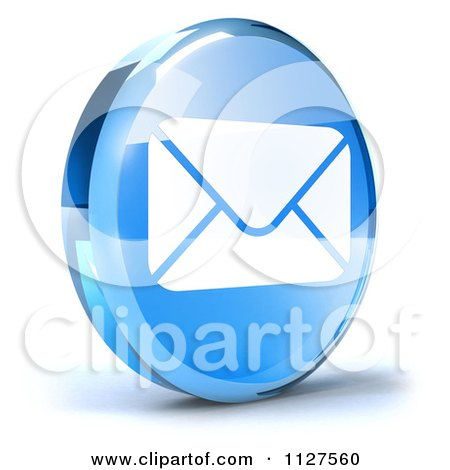 Clipart Of A 3d Blue Glass Email Icon - Royalty Free CGI Illustration by Julos
