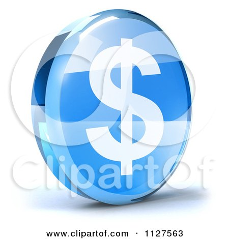 Clipart Of A 3d Blue Glass Dollar Symbol Icon - Royalty Free CGI Illustration by Julos