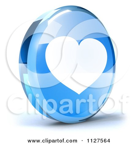 Clipart Of A 3d Blue Glass Heart Icon - Royalty Free CGI Illustration by Julos