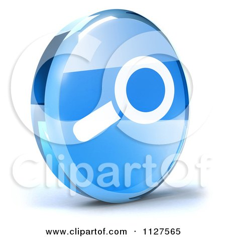 Clipart Of A 3d Blue Glass Search Icon - Royalty Free CGI Illustration by Julos