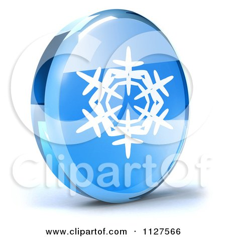 Clipart Of A 3d Blue Glass Snowflake Icon - Royalty Free CGI Illustration by Julos