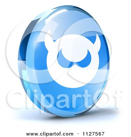 Clipart Of A 3d Blue Glass Computer Virus Icon - Royalty Free CGI Illustration by Julos