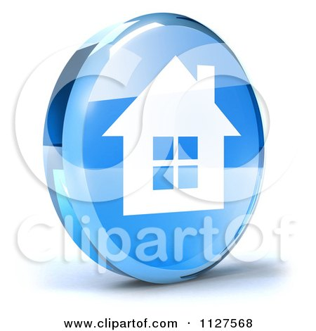 Clipart Of A 3d Blue Glass Home Page Icon - Royalty Free CGI Illustration by Julos