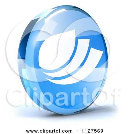 Clipart Of A 3d Blue Glass Leaf Icon - Royalty Free CGI Illustration by Julos