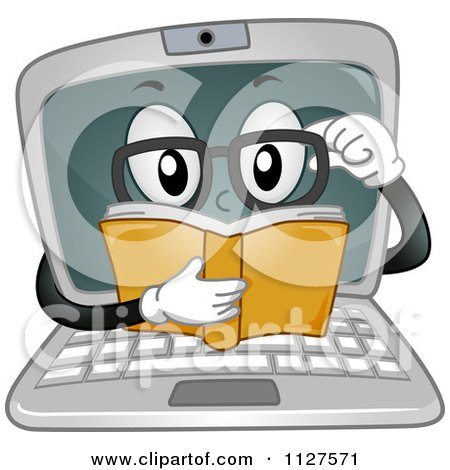 Cartoon Of A Laptop Mascot Reading A Book - Royalty Free Vector Clipart by BNP Design Studio
