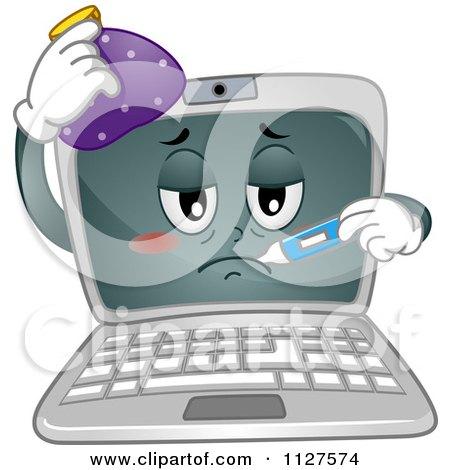 Cartoon Of A Sick Laptop Computer Mascot - Royalty Free Vector Clipart by BNP Design Studio