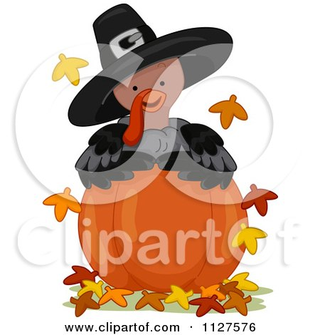 Cartoon Of A Cute Thanksgiving Turkey Wearing A Pilgrim Hat And Looking Over A Pumpkin - Royalty Free Vector Clipart by BNP Design Studio