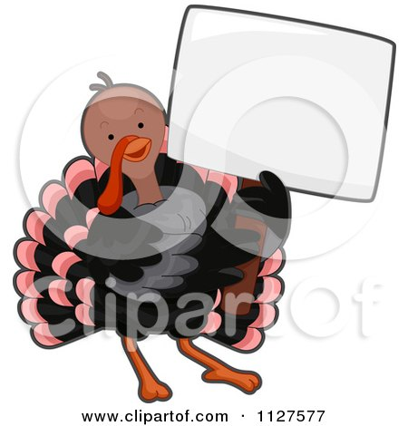 Cartoon Of A Cute Thanksgiving Turkey Bird Holding A Sign - Royalty Free Vector Clipart by BNP Design Studio