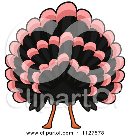 Cartoon Of A Thanksgiving Turkey Bird Butt - Royalty Free Vector Clipart by BNP Design Studio