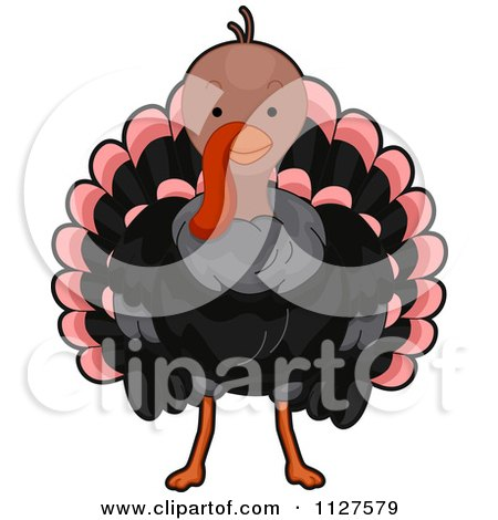 Cartoon Of A Cute Thanksgiving Turkey Bird - Royalty Free Vector Clipart by BNP Design Studio