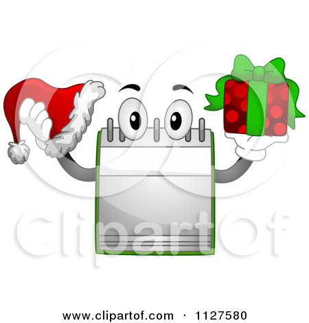 Cartoon Of A Calendar Mascot Holding A Christmas Santa Hat And Gift - Royalty Free Vector Clipart by BNP Design Studio
