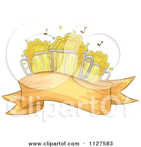 Cartoon Of Oktoberfest Mugs Of Beer and Music Notes Over A Banner - Royalty Free Vector Clipart by BNP Design Studio