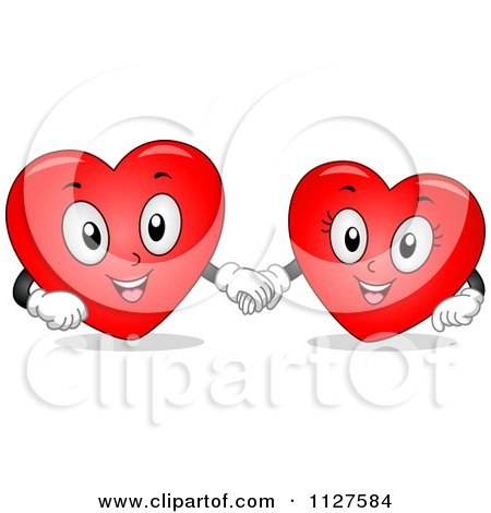 Cartoon Of Happy Heart Mascots Holding Hands - Royalty Free Vector Clipart by BNP Design Studio
