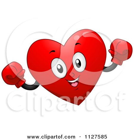 Cartoon Of A Happy Heart Mascot Wearing Boxing Gloves - Royalty Free Vector Clipart by BNP Design Studio