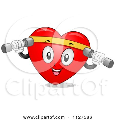 Cartoon Of A Happy Heart Mascot Working Out With Dumbbells - Royalty Free Vector Clipart by BNP Design Studio