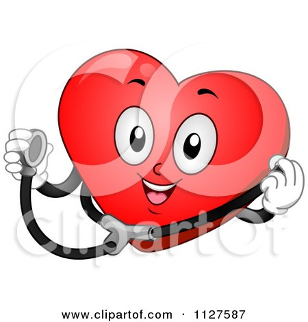 Cartoon Of A Happy Heart Mascot Holding A Stethoscope - Royalty Free Vector Clipart by BNP Design Studio