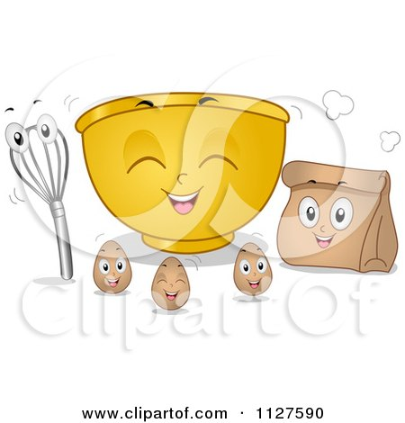 Cartoon Of Mixing Bowl Eggs Bag And Whisk Mascots - Royalty Free Vector Clipart by BNP Design Studio