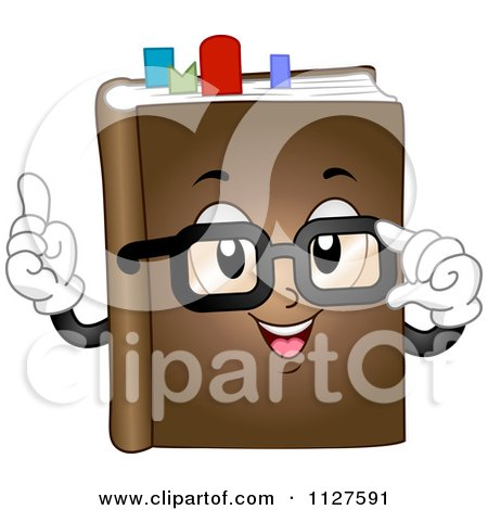 Cartoon Of A Book Mascot With Glasses And Marks Royalty Free Vector Clipart